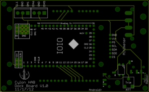 Top rendering of Dock Board PCB.
